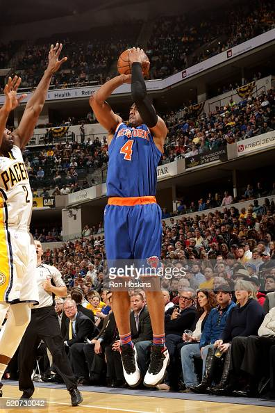 Arron Afflalo of the New York Knicks shoots the ball during the game against the Indiana Pacers on April 12 2016 at Bankers Life Fieldhouse in...