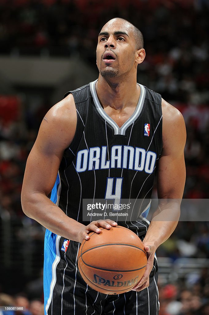 <a gi-track='captionPersonalityLinkClicked' href=/galleries/search?phrase=Arron+Afflalo&family=editorial&specificpeople=640861 ng-click='$event.stopPropagation()'>Arron Afflalo</a> #4 of the Orlando Magic attempts a foul shot against the Los Angeles Clippers at Staples Center on January 12, 2013 in Los Angeles, California.
