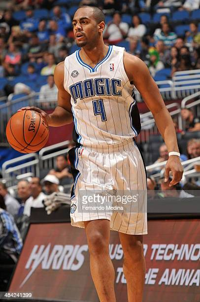 Arron Afflalo of the Orlando Magic dribbles the ball against the Washington Wizards during the game on April 11 2014 at Amway Center in Orlando...