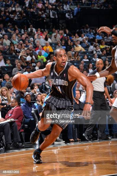Arron Afflalo of the Orlando Magic drives to the basket against the Brooklyn Nets on April 13 2014 at the Barclays Center in Brooklyn New York NOTE...