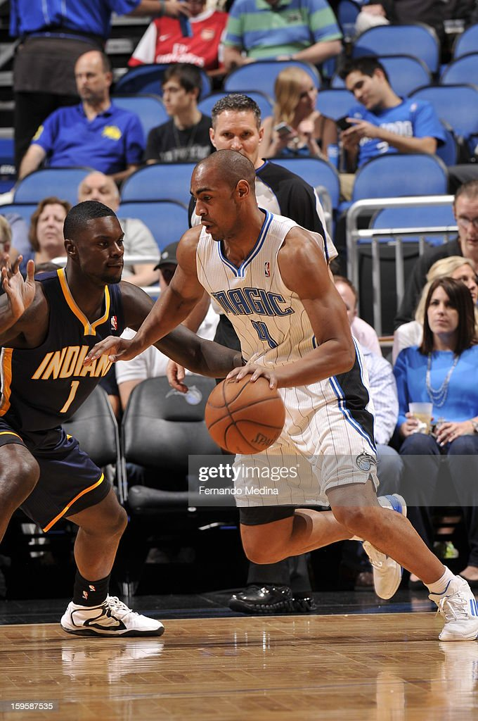 Arron Afflalo #4 of the Orlando Magic drives to the hoop against Lance Stephenson #1 of the Indiana Pacers during the game on January 16, 2013 at Amway Center in Orlando, Florida.