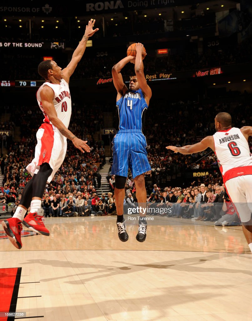 <a gi-track='captionPersonalityLinkClicked' href=/galleries/search?phrase=Arron+Afflalo&family=editorial&specificpeople=640861 ng-click='$event.stopPropagation()'>Arron Afflalo</a> #4 of the Orlando Magic goes up for a shot against the Toronto Raptors during the game on December 19, 2012 at the Air Canada Centre in Toronto, Ontario, Canada.
