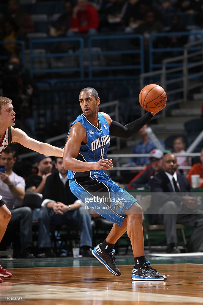 <a gi-track='captionPersonalityLinkClicked' href=/galleries/search?phrase=Arron+Afflalo&family=editorial&specificpeople=640861 ng-click='$event.stopPropagation()'>Arron Afflalo</a> #4 of the Orlando Magic handles the ball against the Milwaukee Bucks on February 18, 2014 at the BMO Harris Bradley Center in Milwaukee, Wisconsin.