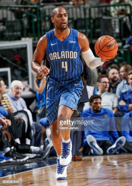 Arron Afflalo of the Orlando Magic handles the ball during a preseason game against the Dallas Mavericks on October 9 2017 at the American Airlines...