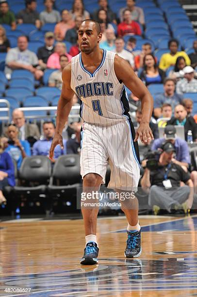 Arron Afflalo of the Orlando Magic looks up the court against the Cleveland Cavaliers during the game on April 2 2014 at Amway Center in Orlando...
