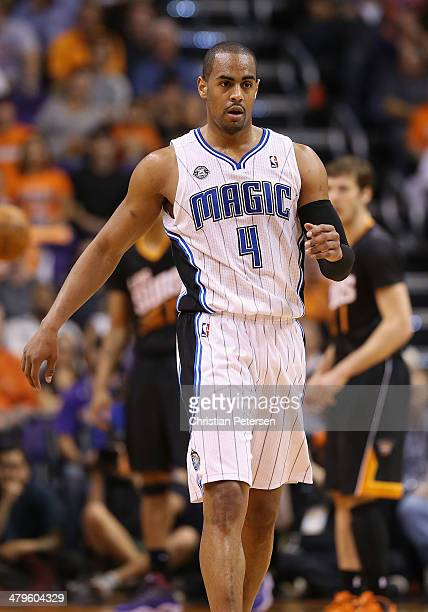 Arron Afflalo of the Orlando Magic reacts after hitting a three point shot against the Phoenix Suns during the second half of the NBA game at US...