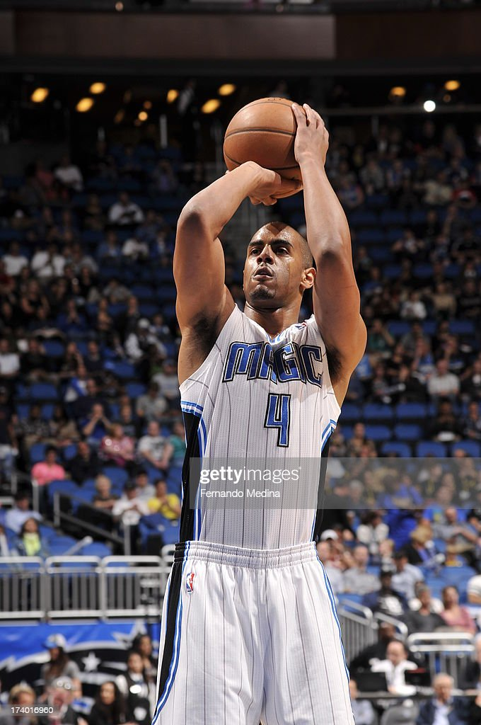 Arron Afflalo #4 of the Orlando Magic shoots a free throw against the Charlotte Bobcats during the game on February 19, 2013 at Amway Center in Orlando, Florida.