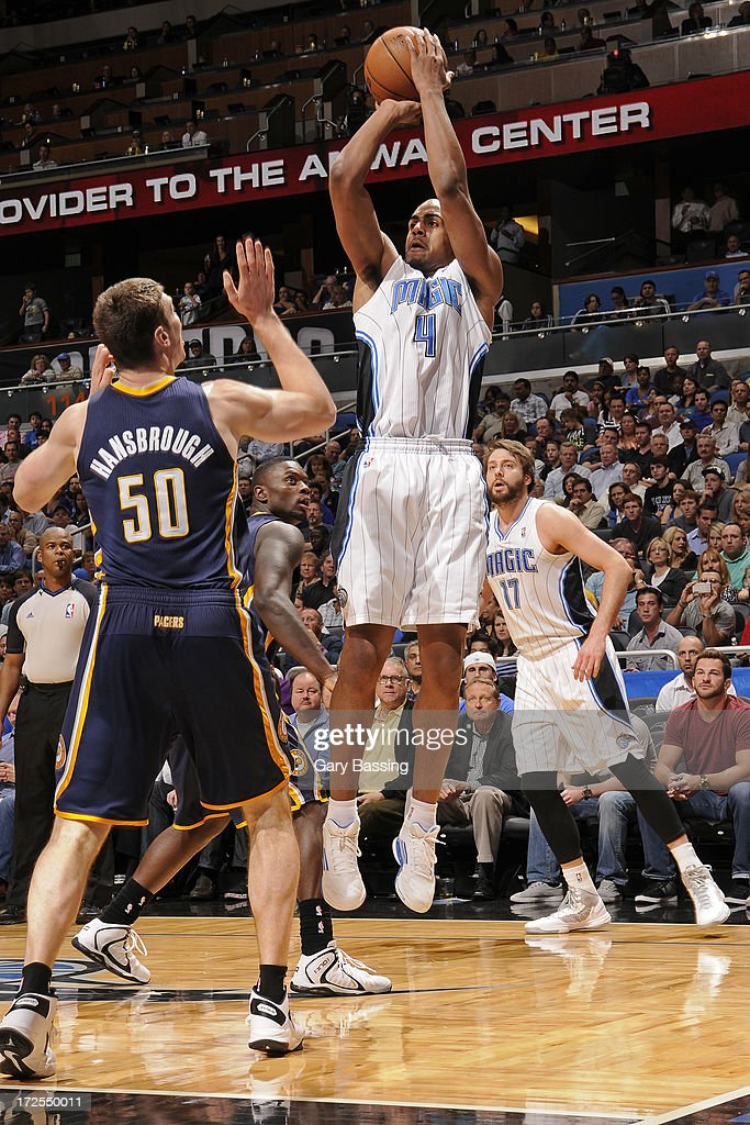 <a gi-track='captionPersonalityLinkClicked' href=/galleries/search?phrase=Arron+Afflalo&family=editorial&specificpeople=640861 ng-click='$event.stopPropagation()'>Arron Afflalo</a> #4 of the Orlando Magic shoots during a game against the Indiana Pacers on January 16, 2013 at Amway Center in Orlando, Florida.