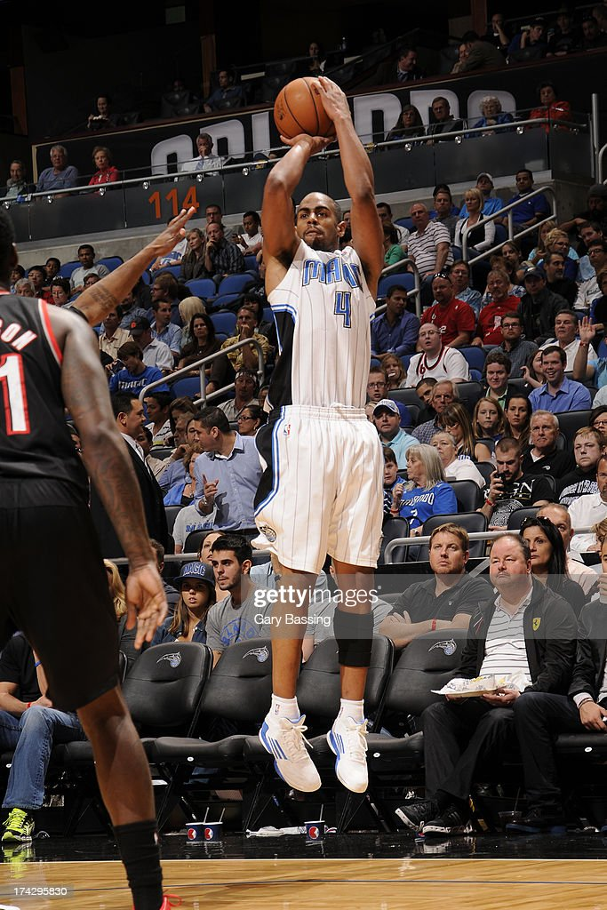 Arron Afflalo #4 of the Orlando Magic shoots the ball against the Portland Trail Blazers during the game on February 10, 2013 at Amway Center in Orlando, Florida.