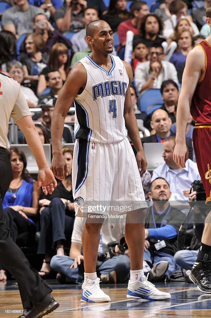 Arron Afflalo #4 of the Orlando Magic smiles during the game between the Cleveland Cavaliers and the Orlando Magic on February 23, 2013 at Amway Center in Orlando, Florida.