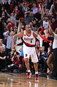 Arron Afflalo of the Portland Trail Blazers celebrates during the game against the Oklahoma City Thunder on February 27 2015 at the Moda Center in...