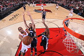 Arron Afflalo of the Portland Trail Blazers goes up for a shot against the Memphis Grizzlies on February 22 2015 at the Moda Center in Portland...