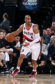 Arron Afflalo of the Portland Trail Blazers handles the ball against the San Antonio Spurs on February 25 2015 at the Moda Center in Portland Oregon...