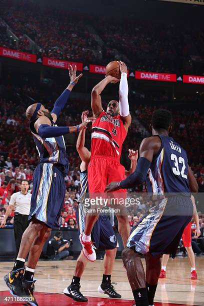 Arron Afflalo of the Portland Trail Blazers shoots against the Memphis Grizzlies in Game Three of the Western Conference Quarterfinals during the...