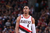 Arron Afflalo of the Portland Trail Blazers stands on the court during a game against the Golden State Warriors on March 24 2015 at the Moda Center...