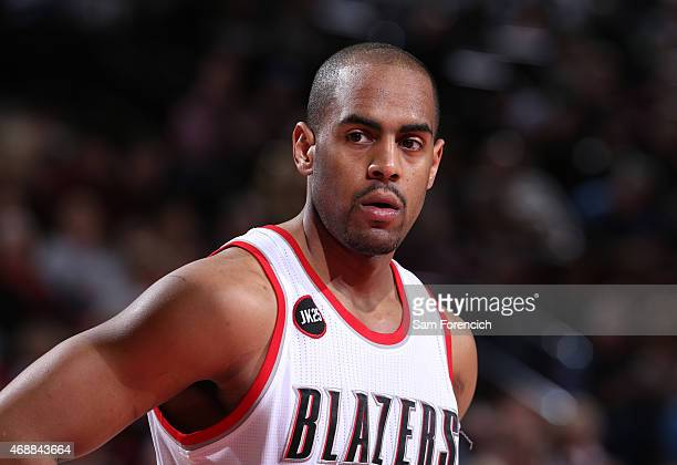Arron Afflalo of the Portland Trail Blazers stands on the court during a game against the New Orleans Pelicans on April 4 2015 at the Moda Center...