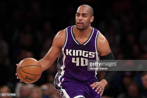 Arron Afflalo of the Sacramento Kings dribbles up court against the New York Knicks during the first half at Madison Square Garden on December 4 2016...