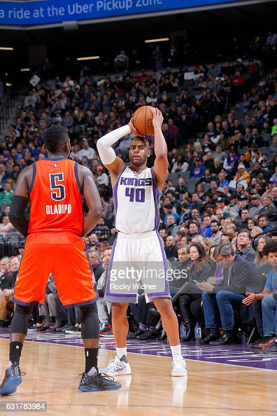 Arron Afflalo of the Sacramento Kings handles the ball against the Oklahoma City Thunder on January 15 2017 at Golden 1 Center in Sacramento...