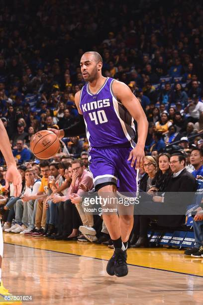 Arron Afflalo of the Sacramento Kings handles the ball against the Golden State Warriors on March 24 2017 at ORACLE Arena in Oakland California NOTE...