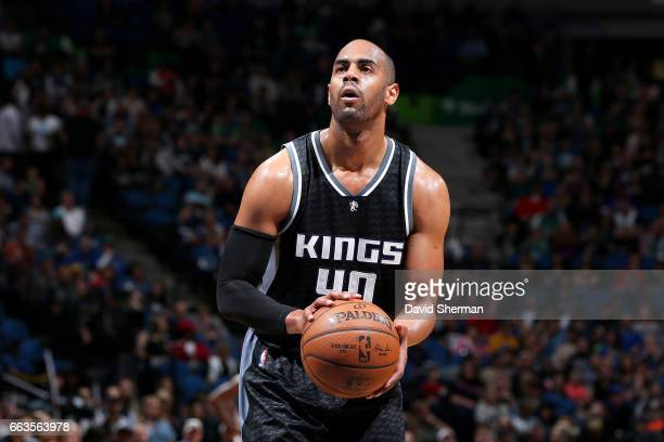 Arron Afflalo of the Sacramento Kings shoots a free throw during the game against the Minnesota Timberwolves on April 1 2017 at Target Center in...