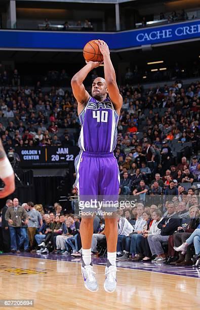 Arron Afflalo of the Sacramento Kings shoots a three pointer against the Oklahoma City Thunder on November 23 2016 at Golden 1 Center in Sacramento...