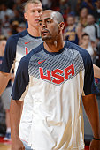 Arron Afflalo of USA White warms up before the game against USA Blue during Team USA Basketball Showcase on August 13 2015 at the Thomas Mack Center...