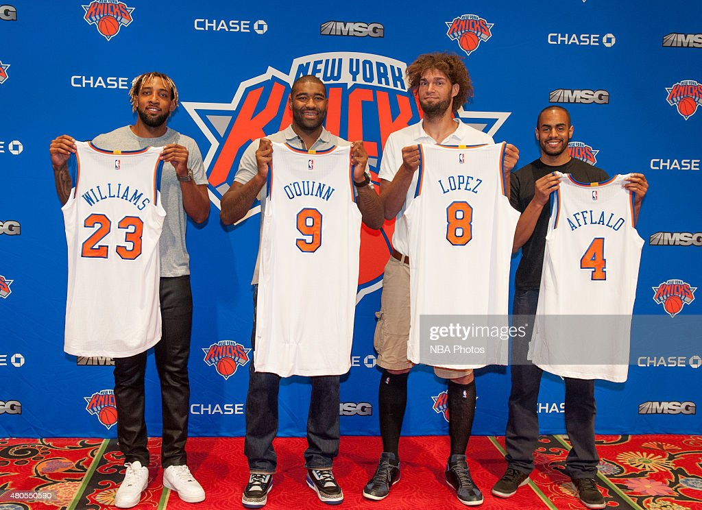 Arron Afflalo Robin Lopez Kyle O'Quinn and Derrick Williams of the New York Knicks are introduced to the public during a press conference on July 10...