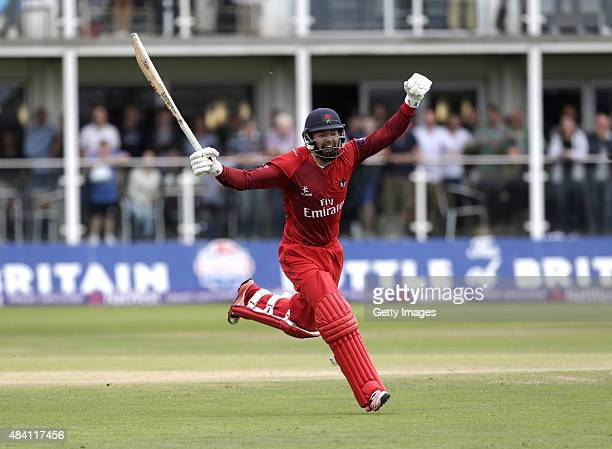 Arron Lilley of Lancashire celebrates his teams victory during the NatWest T20 Blast quarter final match between Kent Spitfires and Lancashire...