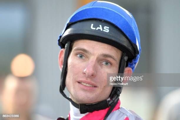Arron Lynch after winning the Red Gem Packers 3YO F Maiden Plate at Racingcom Park Racecourse on October 20 2017 in Pakenham Australia