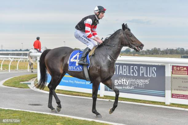 Arron Lynch returns to the mounting yard on Reata after winning the XXXX Gold Maiden Plate at Racingcom Park Synthetic Racecourse on August 03 2017...