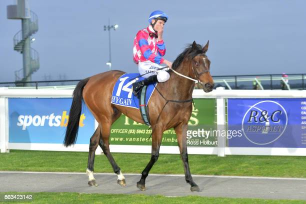Arron Lynch returns to the mounting yard on Splash Around after winning the Red Gem Packers 3YO F Maiden Plate at Racingcom Park Racecourse on...