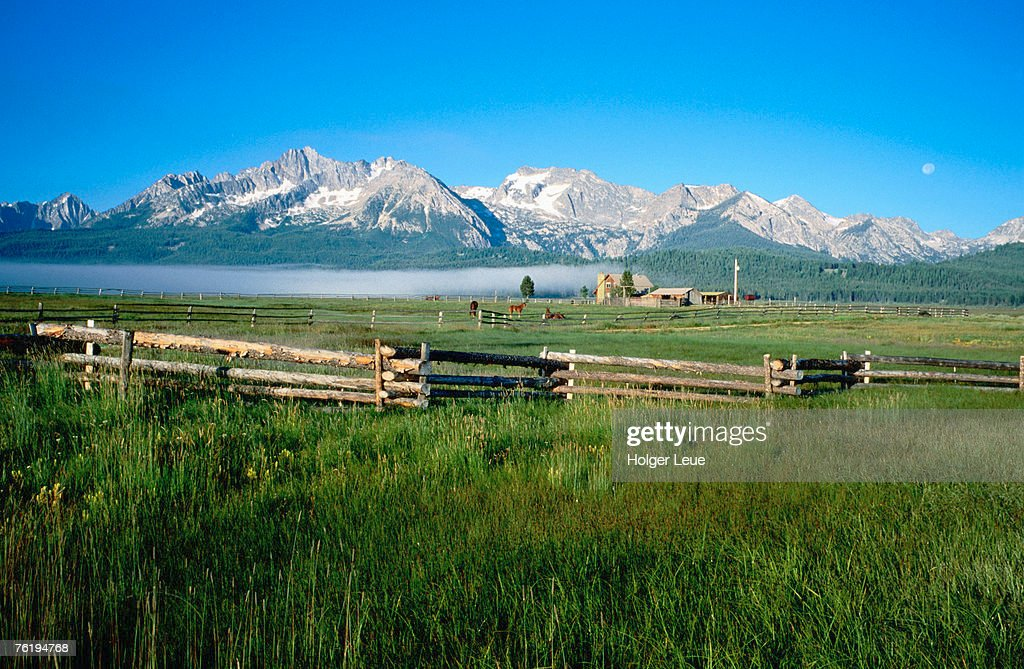 Arrow A Ranch and Sawtooth Mountains, Stanley, Idaho, United States of America, North America : Stock Photo
