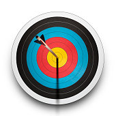 Arrow in the bullseye of an archery target on a white background.