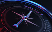 Arrow of a compass is pointing values text on the compass. Arrow,values text and the frame of compass are metallic blue in color. Red light illuminating compass is creating a sense of tension. Black b