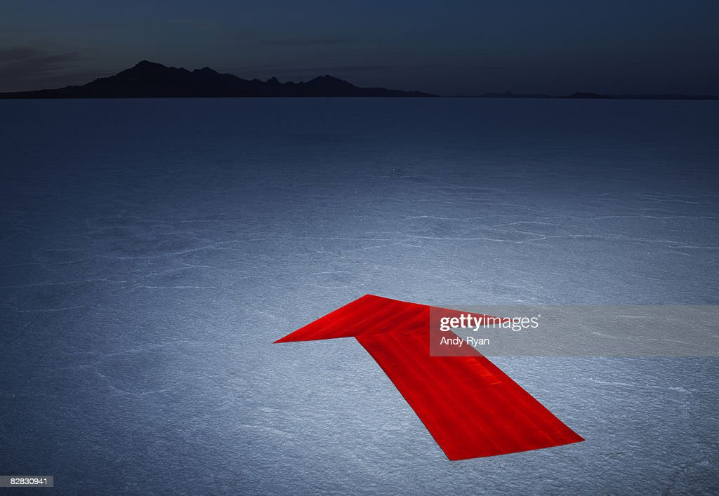 Arrow on Salt Flats, Dusk. : Stock Photo