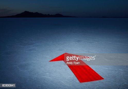 Arrow on Salt Flats, Dusk. : Stock Photo
