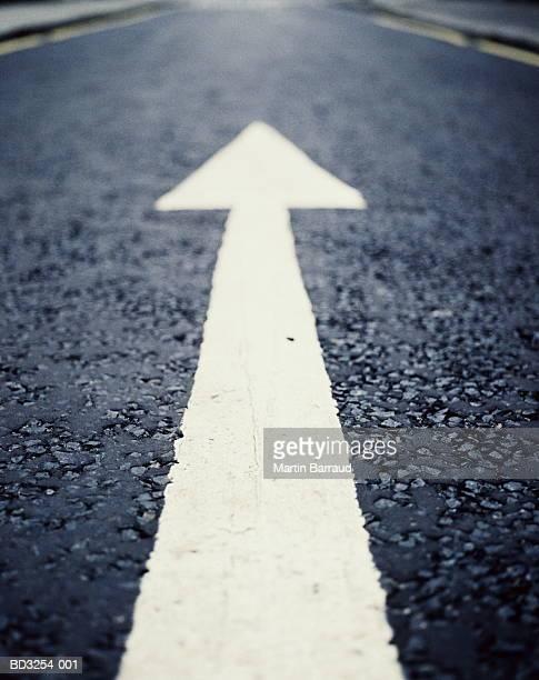Arrow road marking, close-up