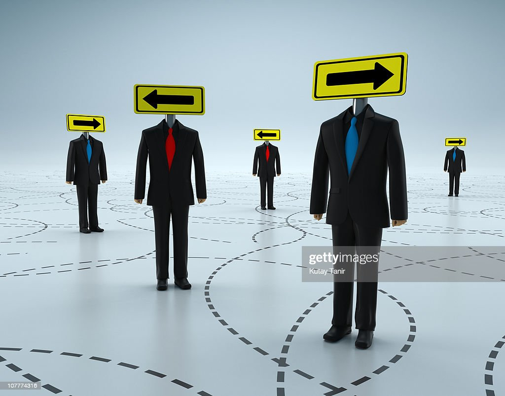 Arrow sign head business people standing together : Stock Photo
