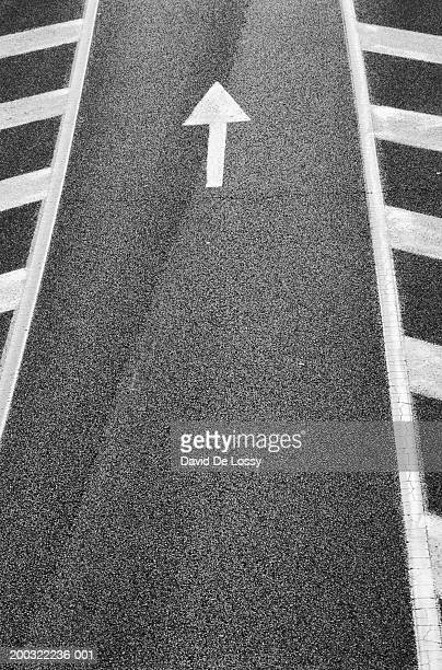Arrow sign on road, elevated view (B&W)