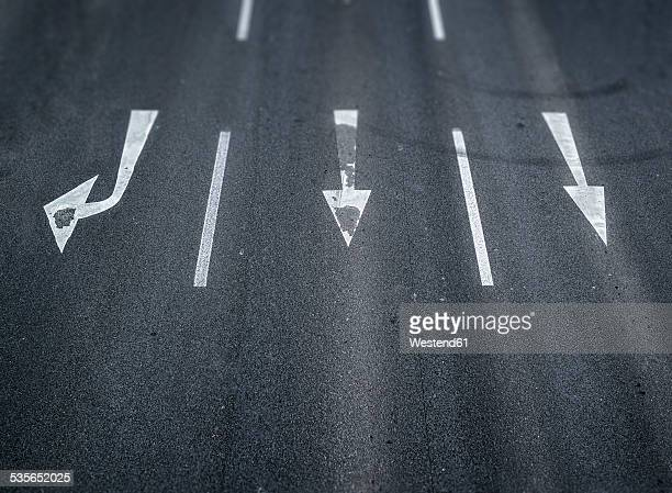 Arrow signs on a road
