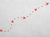 Arrows and the dotted line on the paper. Search concept
