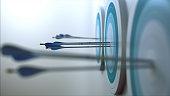Simple 3d scene representing arrows, that hit targets.