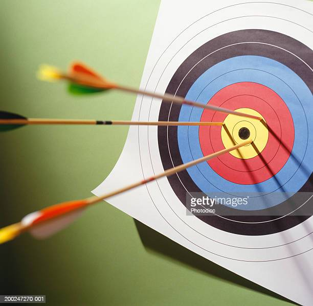 Arrows in centre of target, elevated view