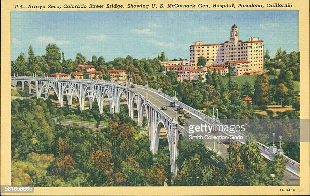 Arroya Seco Colorado Street Bridge Showing US McCornack General Hospital Pasadena California 1945