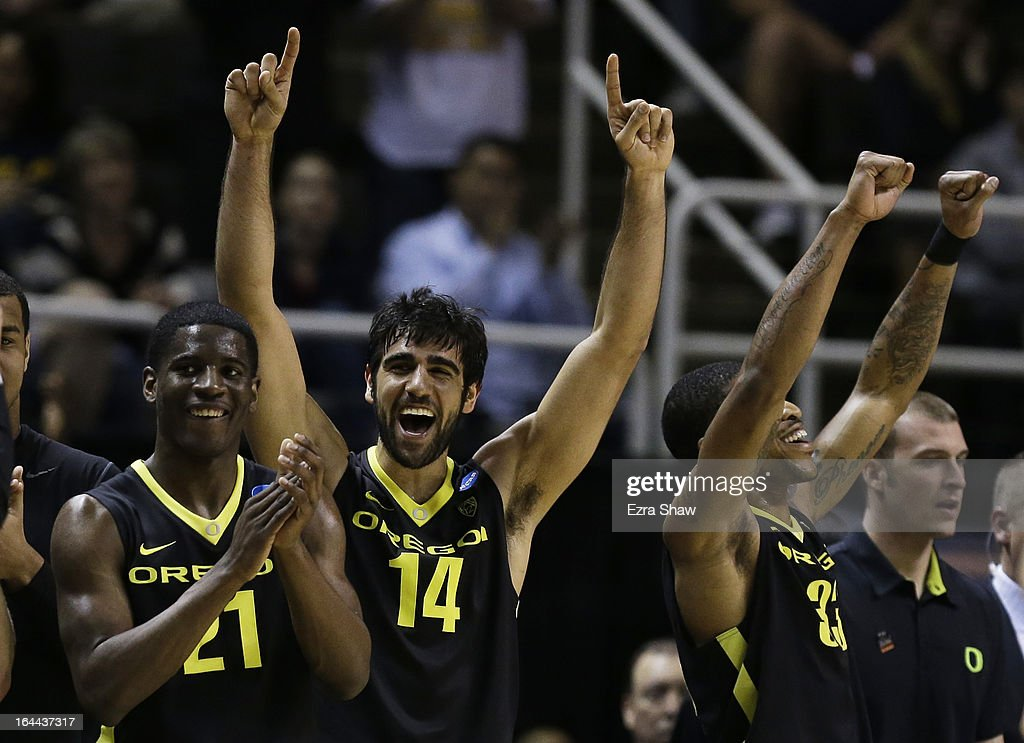 Arsalan Kazemi #14 of the Oregon Ducks and teammates celebrate from the bench during the second half of their 74 to 57 win over the Saint Louis Billikens during the third round of the 2013 NCAA Men's Basketball Tournament at HP Pavilion on March 23, 2013 in San Jose, California.