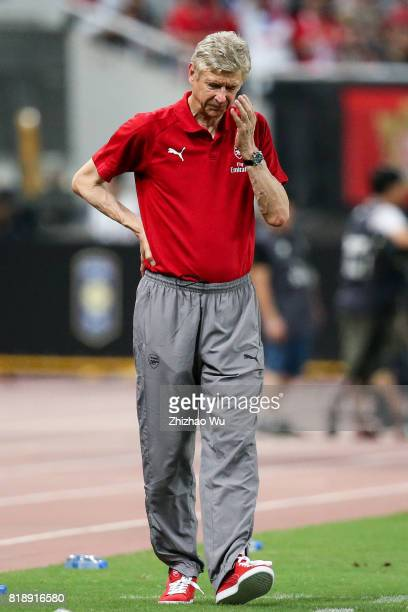 Arseen Wenger coach of Arsenal FC during the 2017 International Champions Cup China match between FC Bayern and Arsenal FC at Shanghai Stadium on...