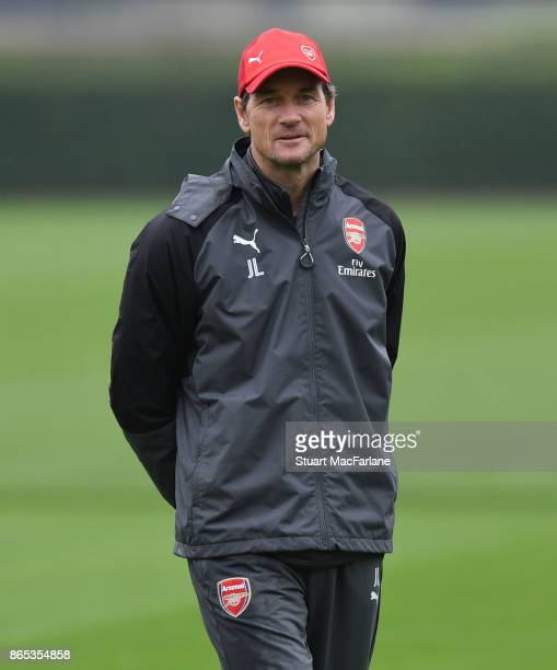 Arsenal 1st team coach Jens Lehmann during a training session at London Colney on October 23 2017 in St Albans England