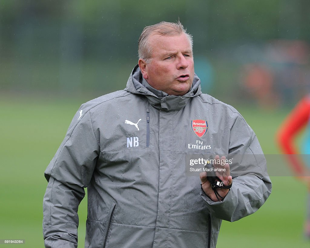 Arsenal 1st team coach Neil Banfield during a training session at London Colney on August 19 2016 in St Albans England