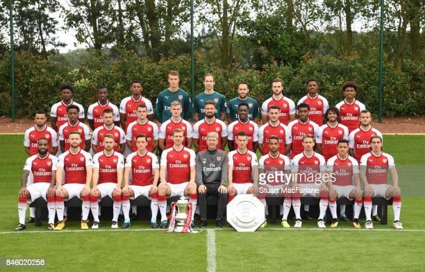 Arsenal 1st team squad season 2017/18 Back row Ainsley MaitlandNiles Eddie Nketiah Jeff ReineAdelaide Matt Macey Petr Cech David Ospina Calum...