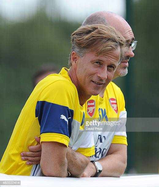 Arsenal Academy Manager Andries Jonker watches the pre season friendly match between Arsenal XI and AFC Bournemouth XI at Arsenal's Training Ground...
